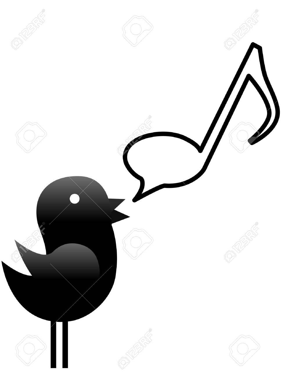 a tweety bird sings or talks music in a musical note speech bubble rh 123rf com Music Notes Graphics Music Note Icon