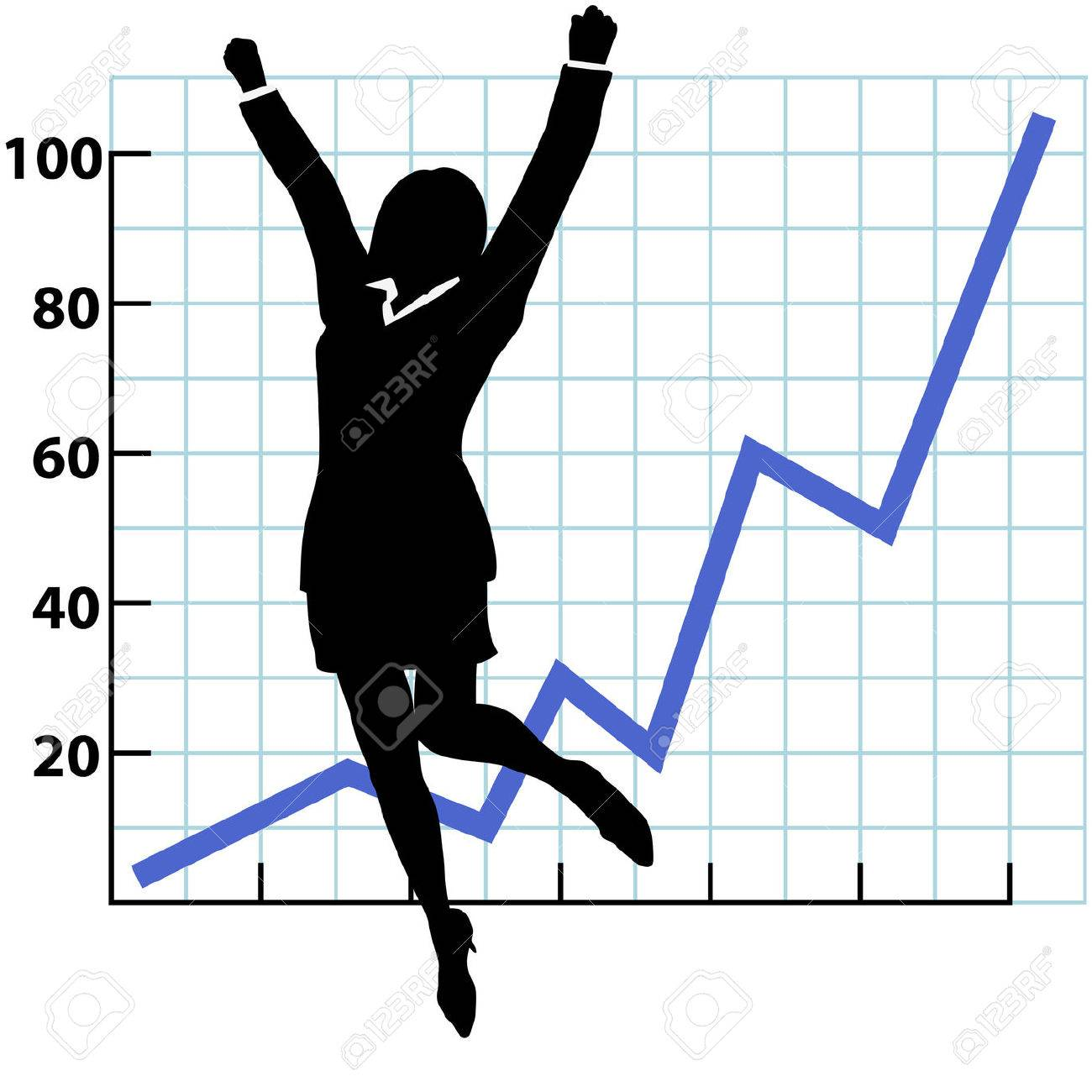 A business woman silhouette jumps and raises her fists in celebration of success on a chart of growth or profit. Stock Vector - 6112092