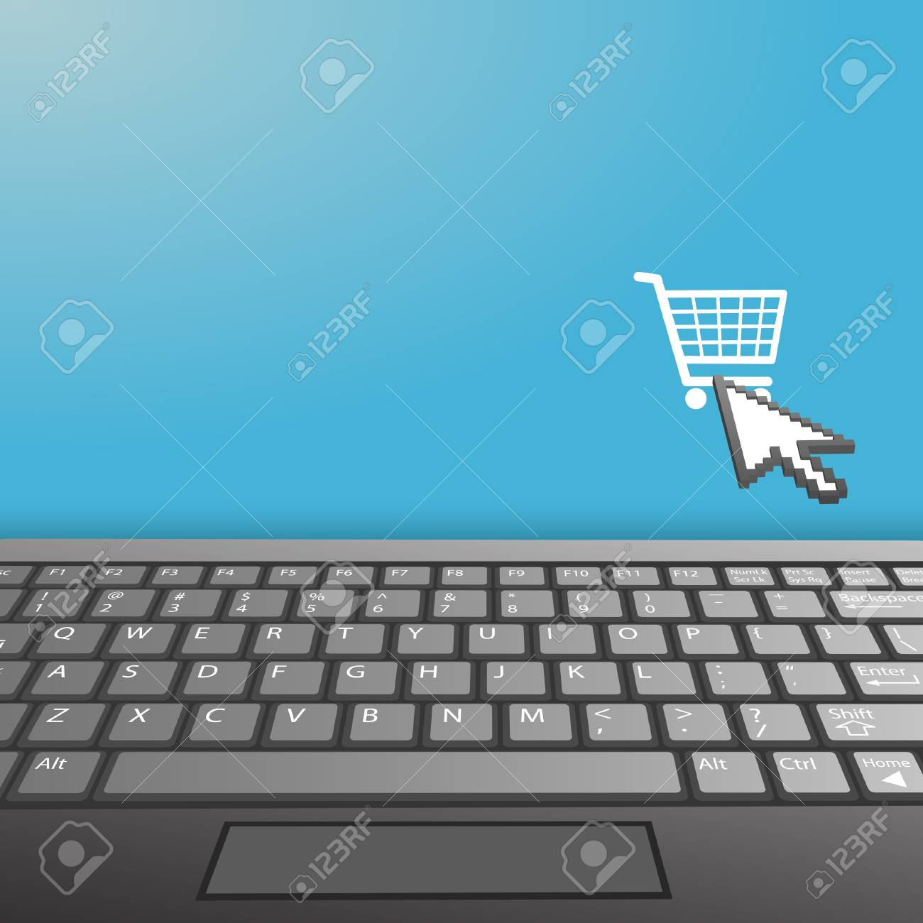 A closeup of a laptop computer keyboard with shopping cart internet icon and your copy space on the monitor. Stock Vector - 6218409