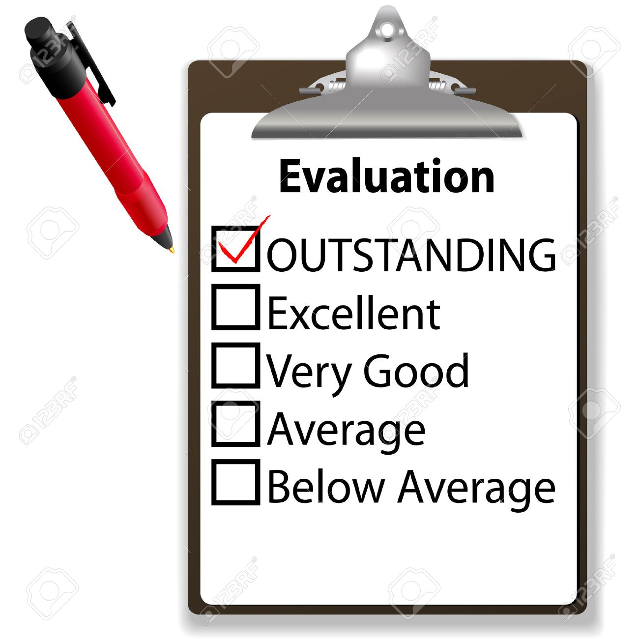 An Evaluation For Job Performance Red Check Mark In The ...