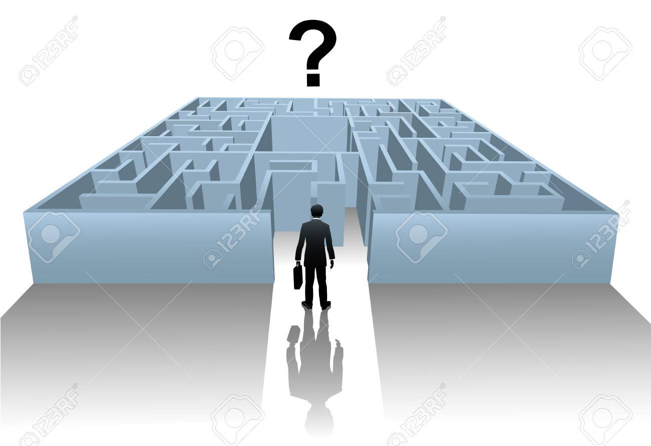 A business person enters an Internet Maze in search of an answer or solution to a question. Stock Vector - 6218404