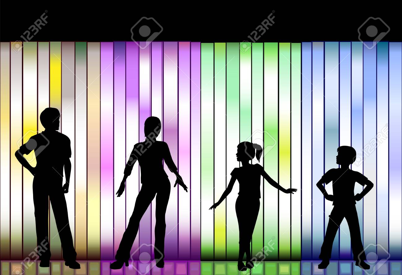 People In A Family Clothing Fashion Show On A Colorful Background