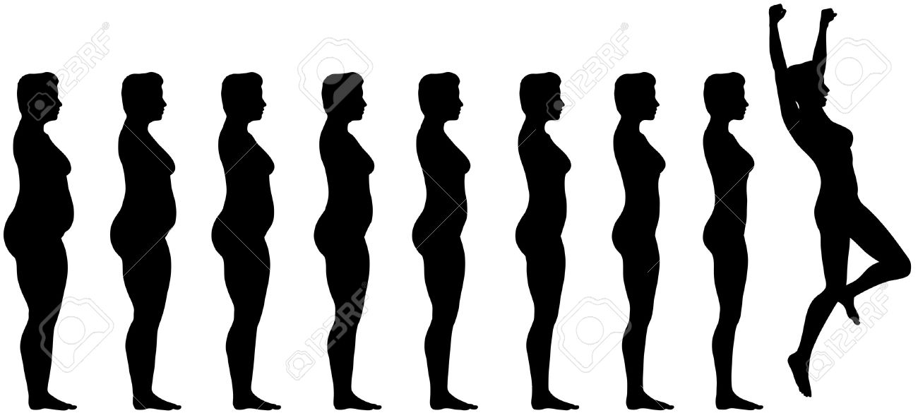 Woman silhouettes are symbol of Fat to Fit Diet Weight Loss Success. Stock Vector - 6218399