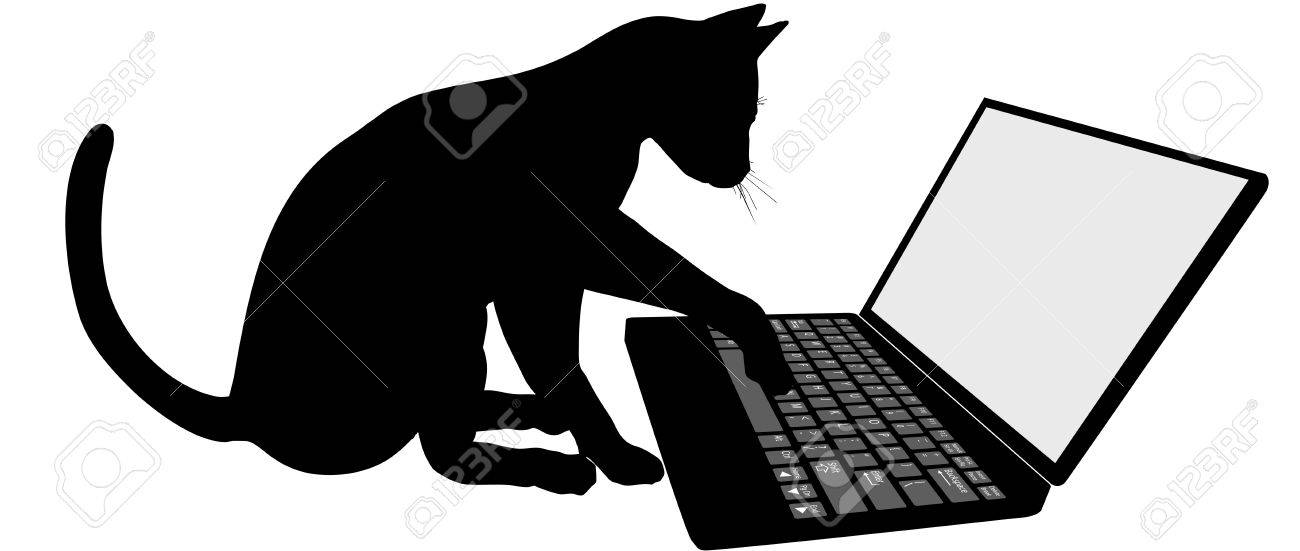 Kitty cat on the keyboard of laptop computer logs onto Internet website. Stock Vector - 6265499