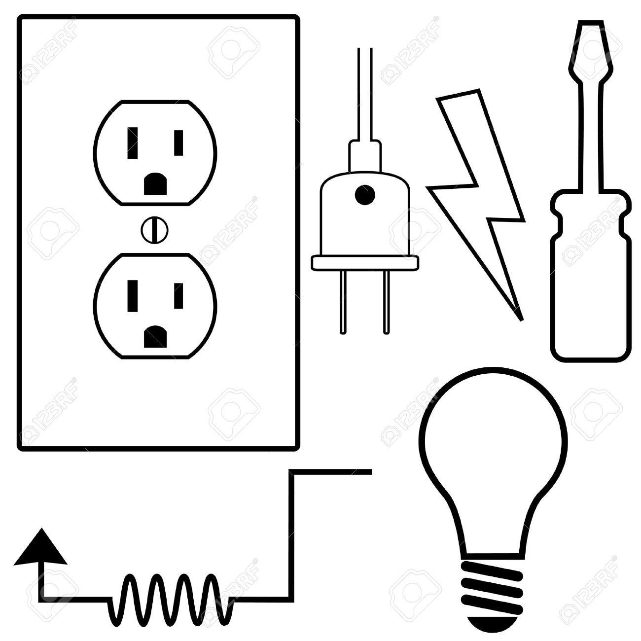 Electric Repair And Installation Symbol Icons Set For Electrical ...