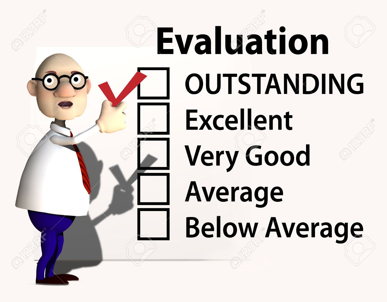 A cartoon boss or teacher puts a red check mark on a report card or evaluation for job performance. Stock Photo - 6323866