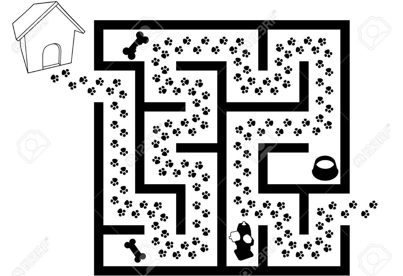 迷路パズル ペット子犬犬足プリント トレイルの黒と白のイラスト素材