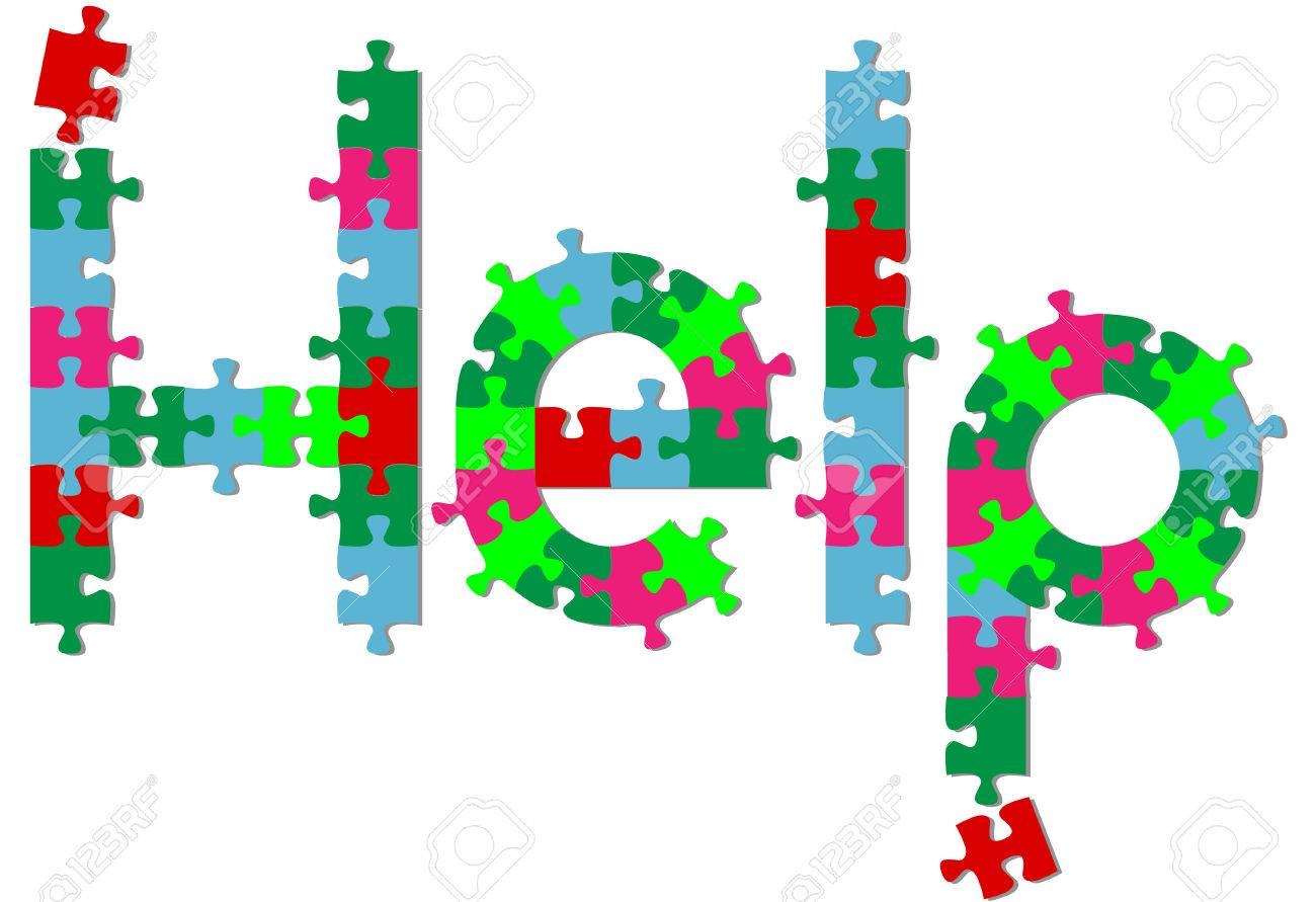Jigsaw puzzle pieces search find HELP answer on a shadow. Stock Vector - 6546013
