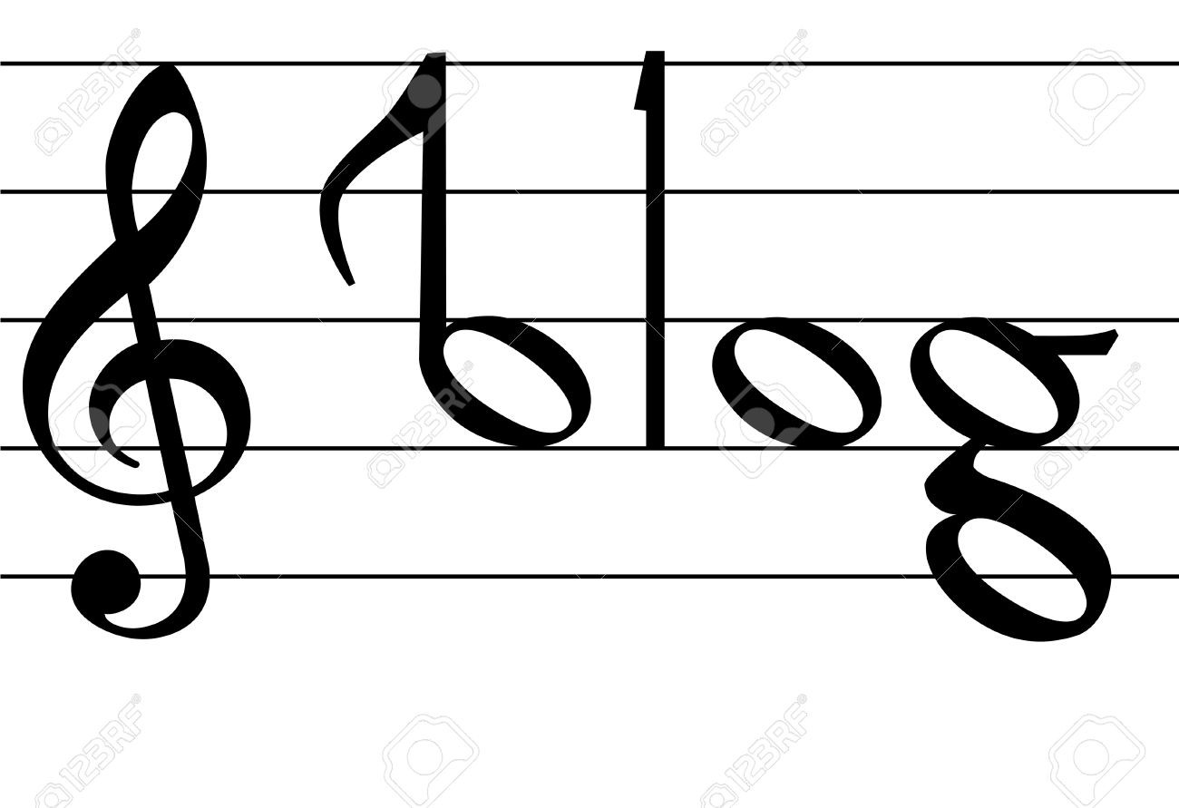 The Word Blog As Notes On Musical Notation Symbols For Your Music