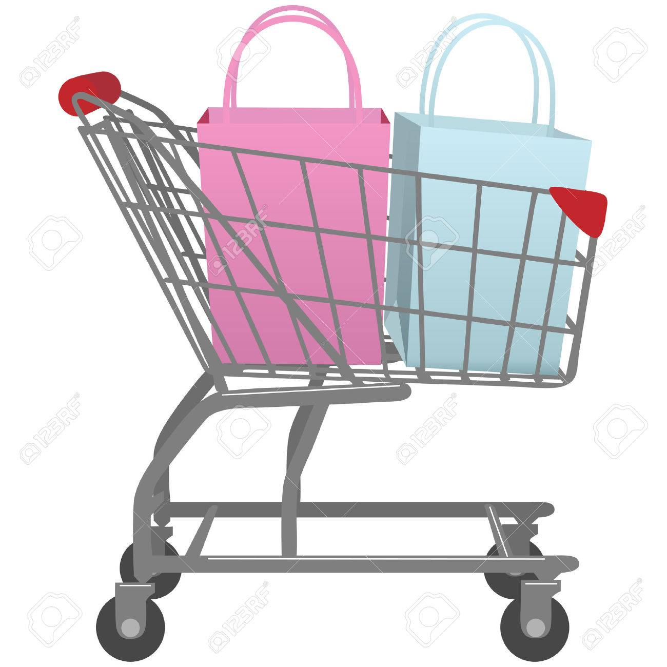 A Shopping Cart Carrying Two Shopping Bags One Pink Bag One Blue ...