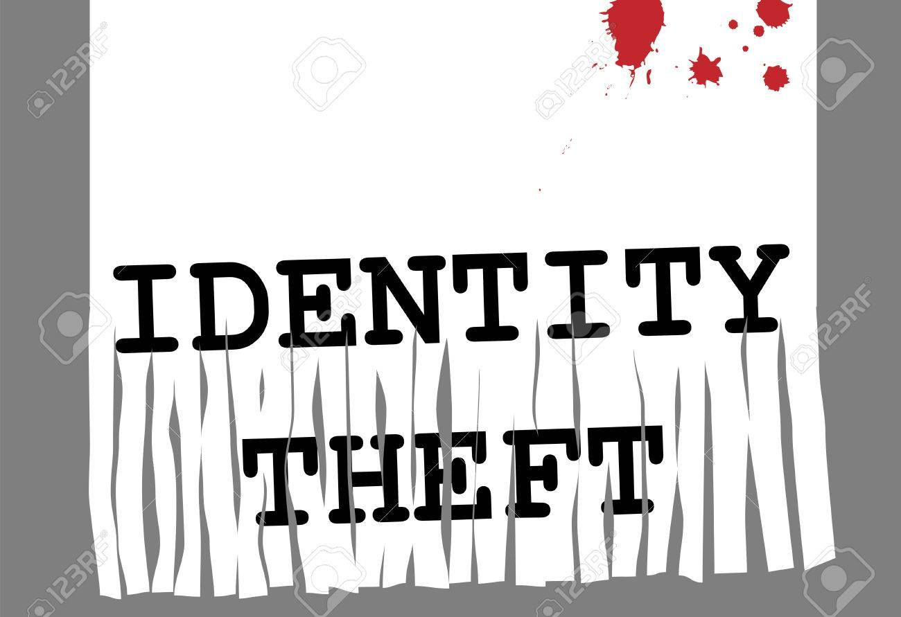 Shred Identity Theft and computer fraud in security paper shredder. Stock Vector - 6915851