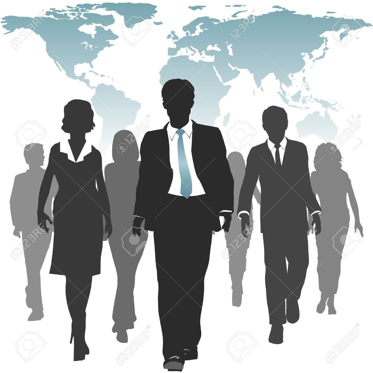 international work force of business people walks forward under international work force of business people walks forward under a world map stock vector