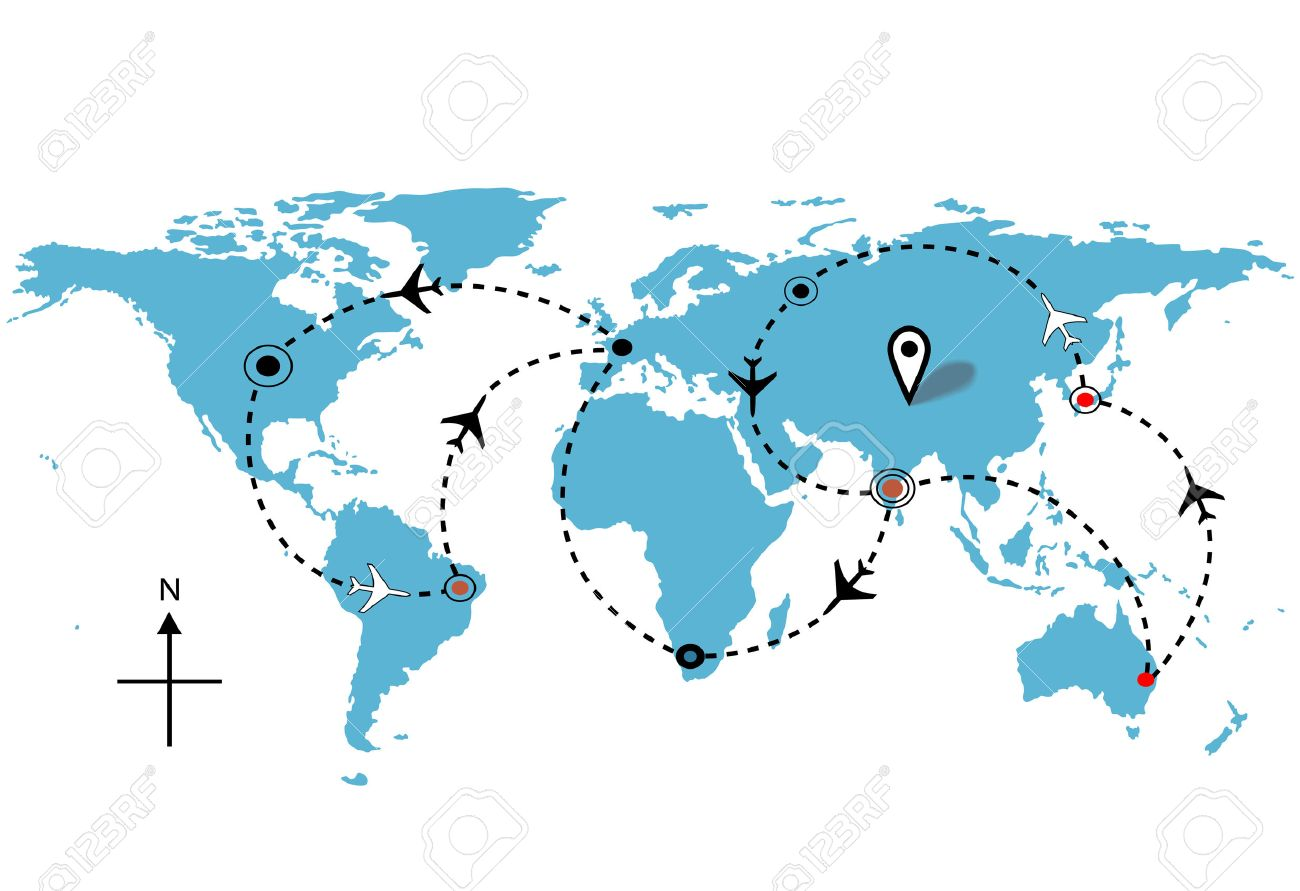 World Map Airline Airplane Flight Travel Plans Royalty Free