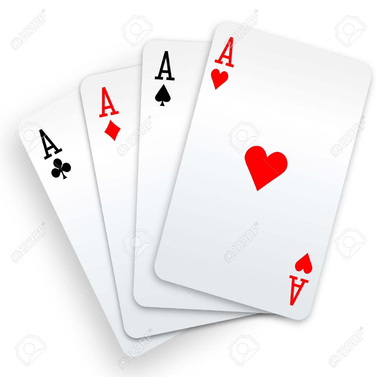 A winning poker hand of four aces playing cards suits on white. Stock Vector - 7529801