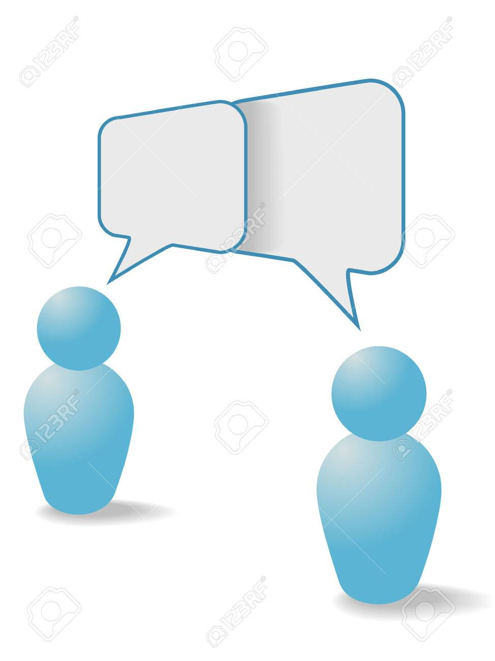 Two people symbols share talk together in overlapping social media communication speech bubbles. - 7529769