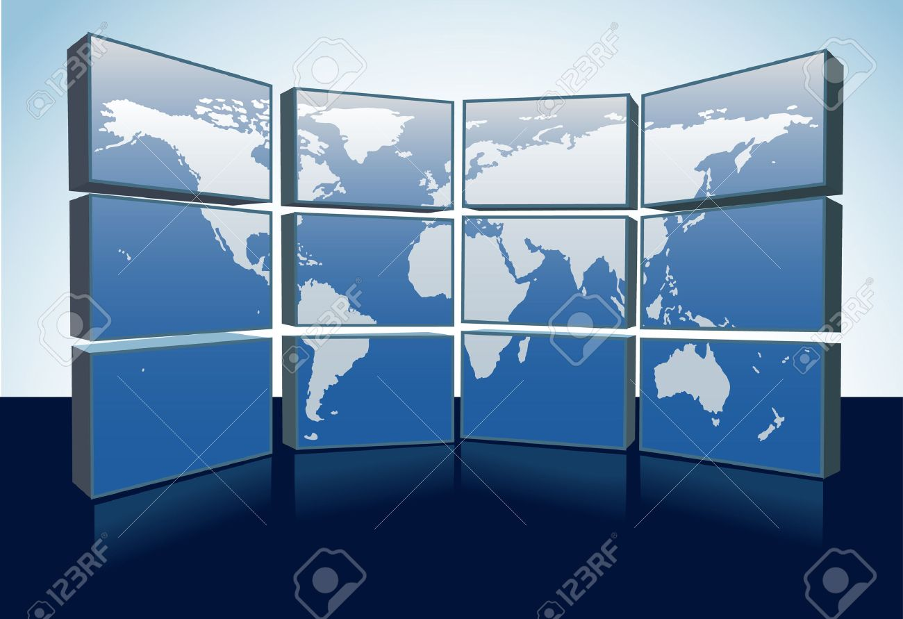 A wall of monitors display a world map of Earth on a group of computer or tv screens. Stock Vector - 7529779