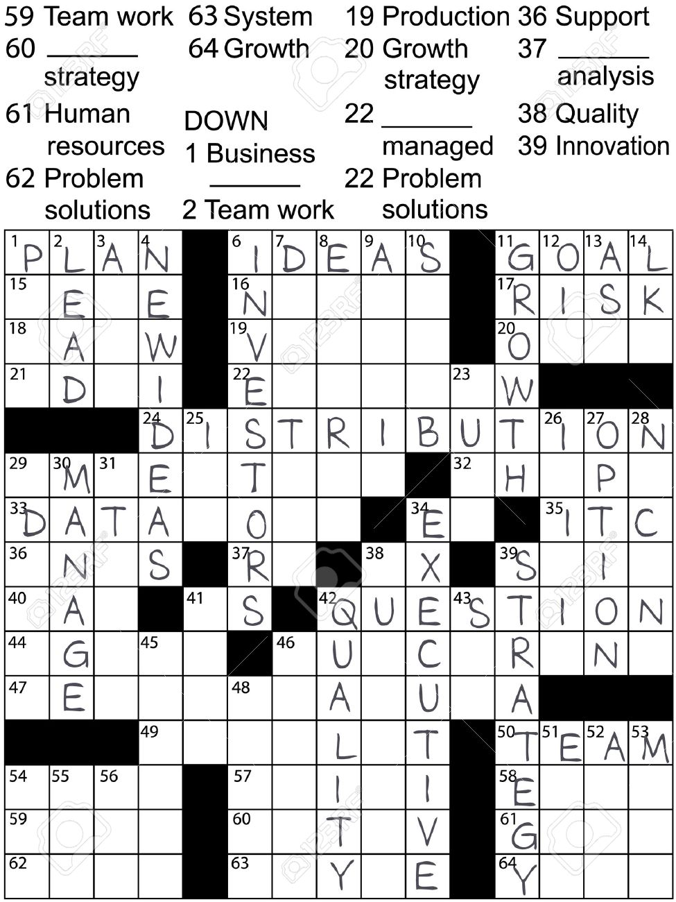A Crossword Puzzle With Business Plan Words As Clues And Solution Answers Stock Vector