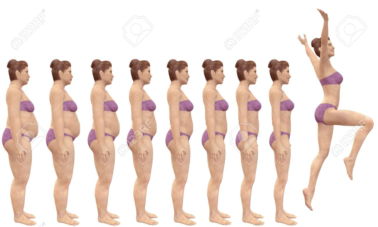 A woman diets from fat to fitness in before and after series of 3D renders Stock Photo - 7616475