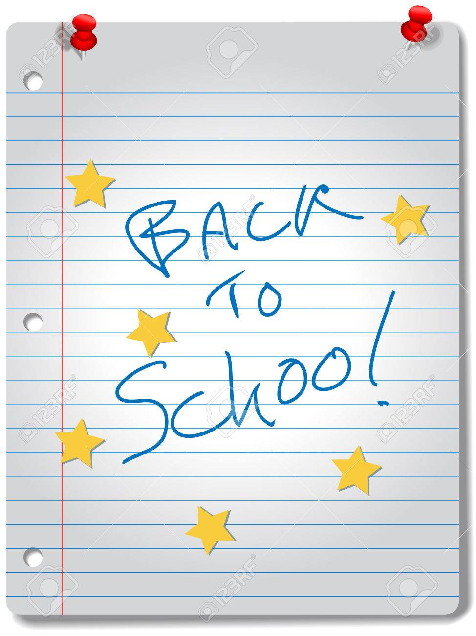 BACK TO SCHOOL star notebook education supplies stock vector