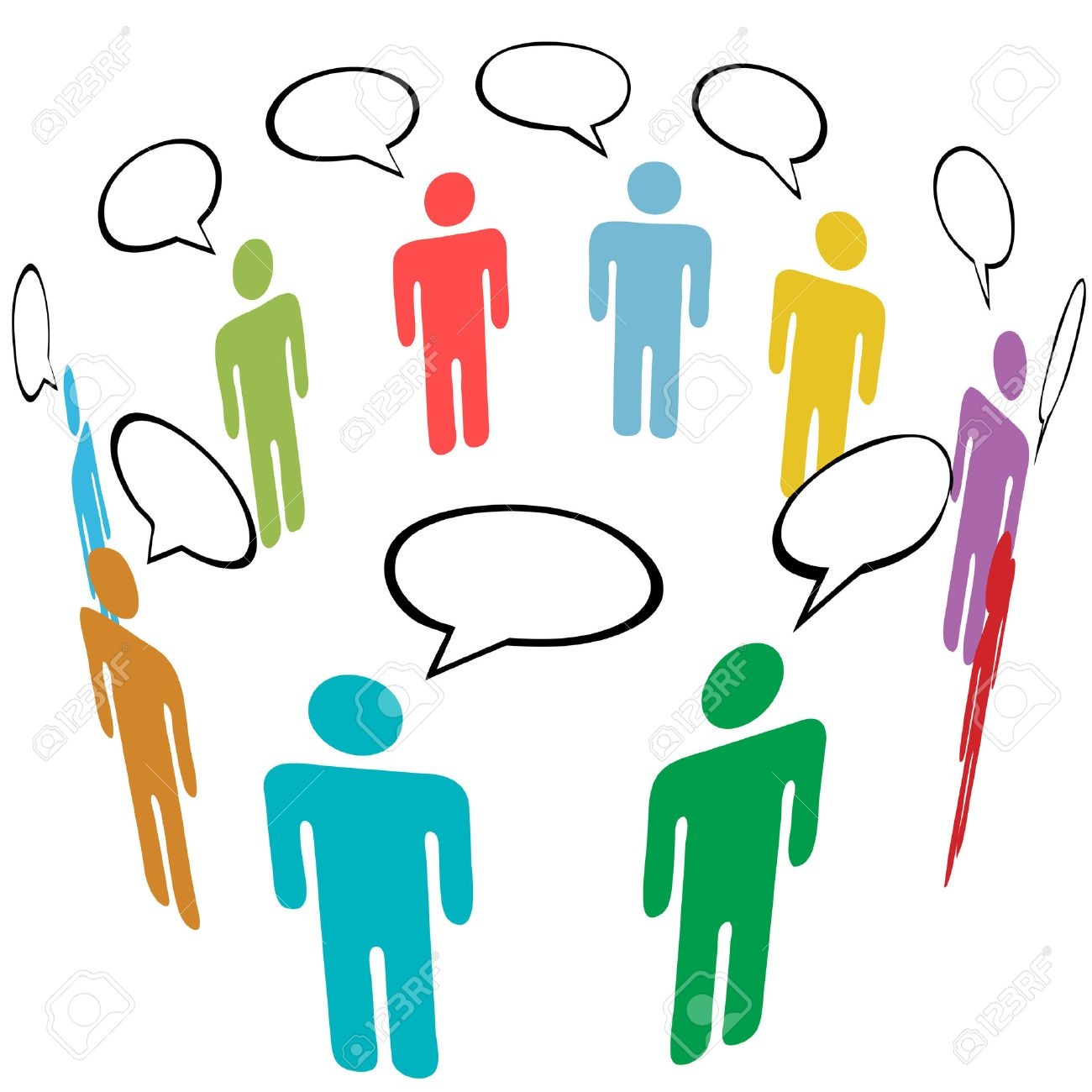 A group of stick figure symbol people talk in social media speech a group of stick figure symbol people talk in social media speech bubbles stock vector biocorpaavc Gallery