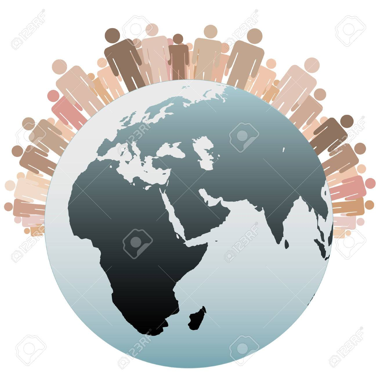 Many diverse people stand on the Western Hemisphere as symbols of the Population of Earth. - 7616461