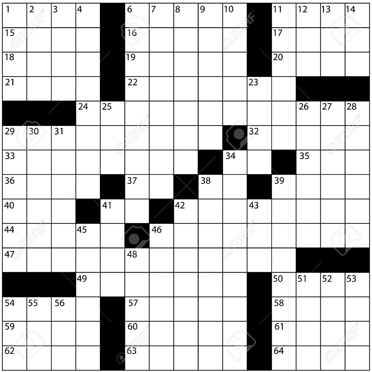 A Blank Newspaper Style Crossword Puzzle With Numbers In The.. Stock ...