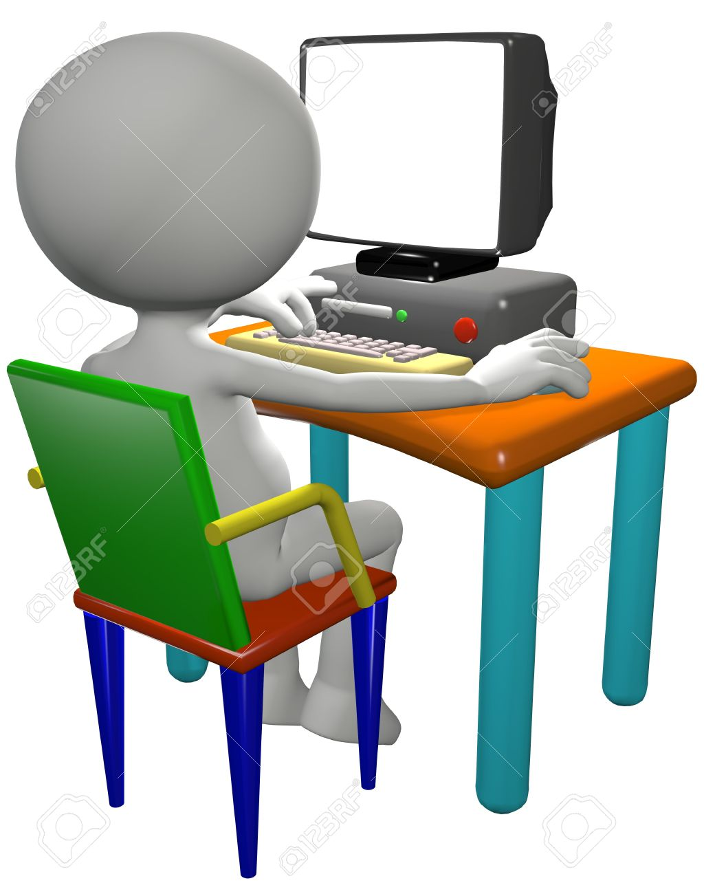 Cartoon 3d Pc Benutzer Arbeitet Auf Einem Computerschreibtisch