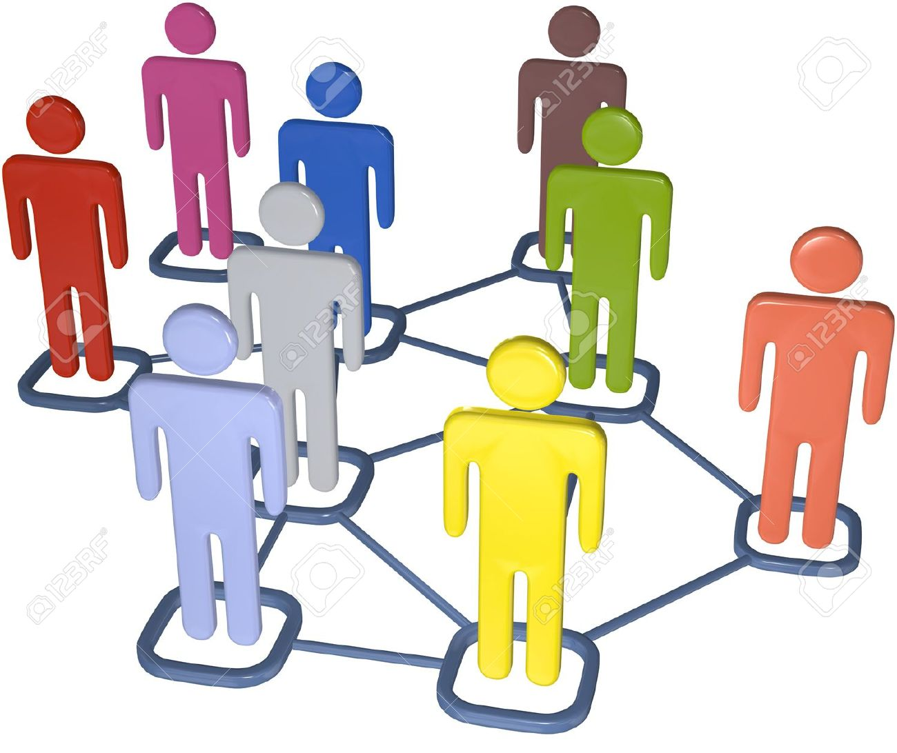Symbol people connect in nodes of 3D social media network. Stock Photo - 7794517