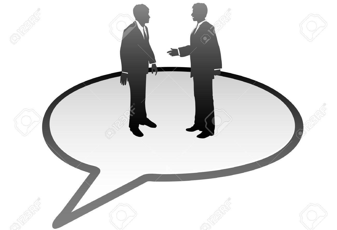 Meeting business people talk inside a communication speech bubble Stock Vector - 7794499