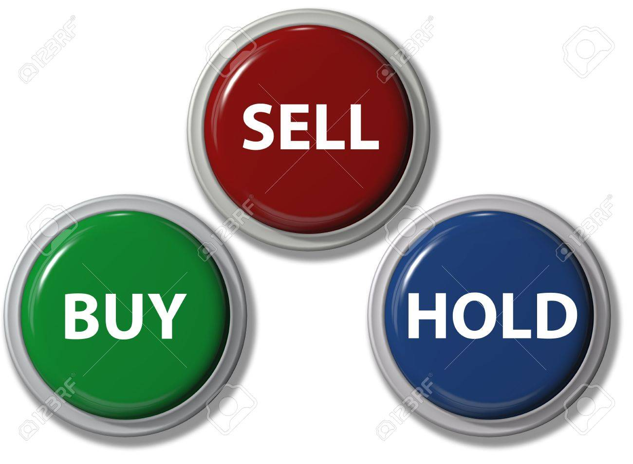 Click on BUY SELL HOLD financial buttons stock investment icons Stock Photo - 7897963