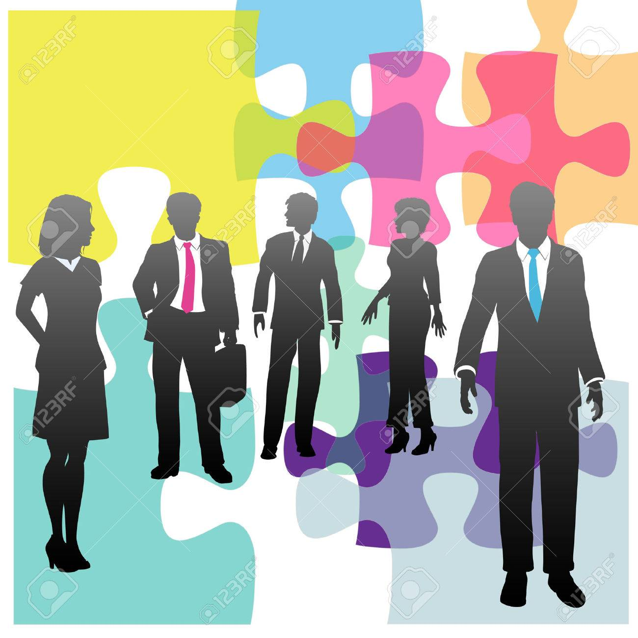 Jigsaw puzzle and business people as complex human resources problem or solution Stock Vector - 8002521