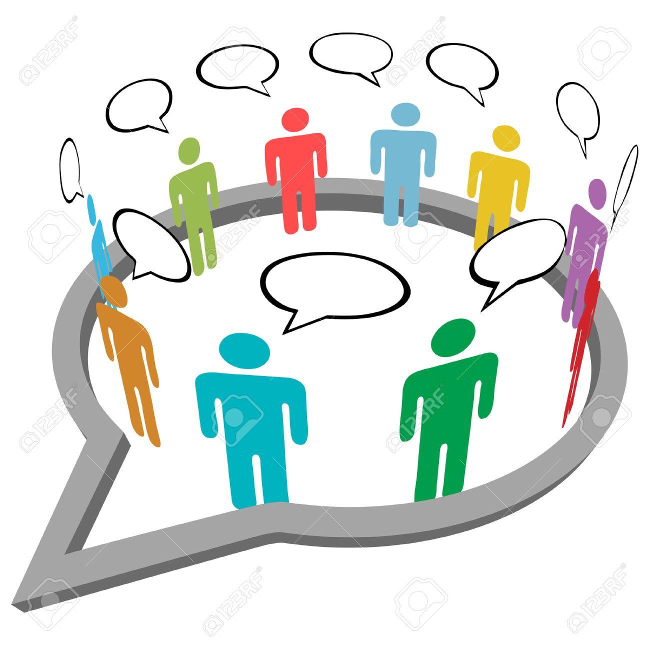 Inner circle business people talk meet in a social media network speech bubble - 8002515
