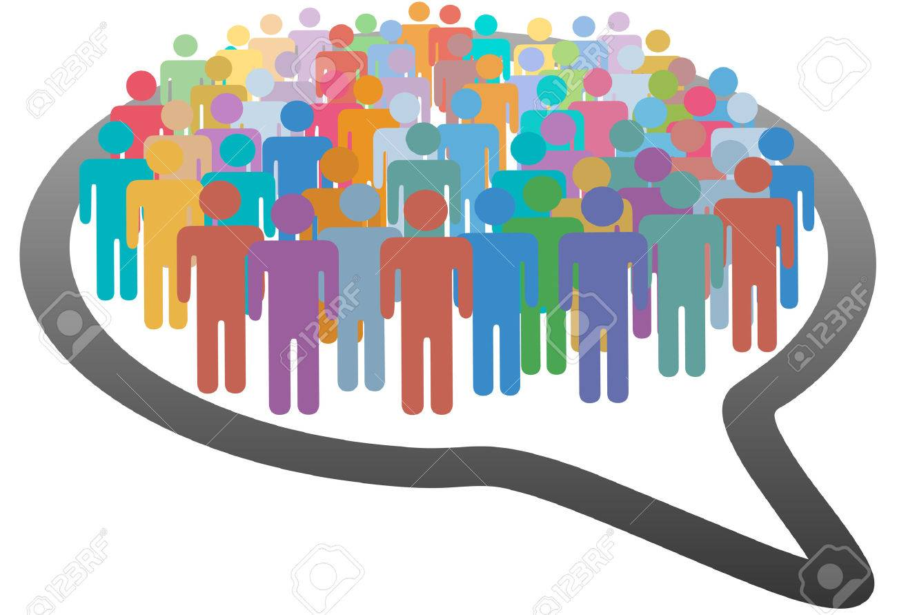 A group of many social media people crowd inside a speech bubble network Stock Vector - 8116115