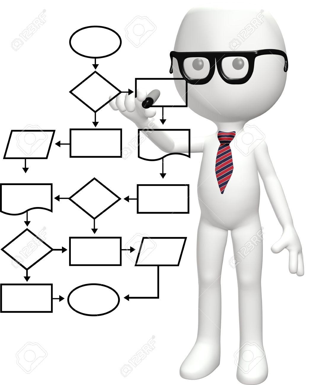 A cartoon nerd genius programs a smart flowchart process a cartoon nerd genius programs a smart flowchart process management system stock photo 8220609 nvjuhfo Choice Image