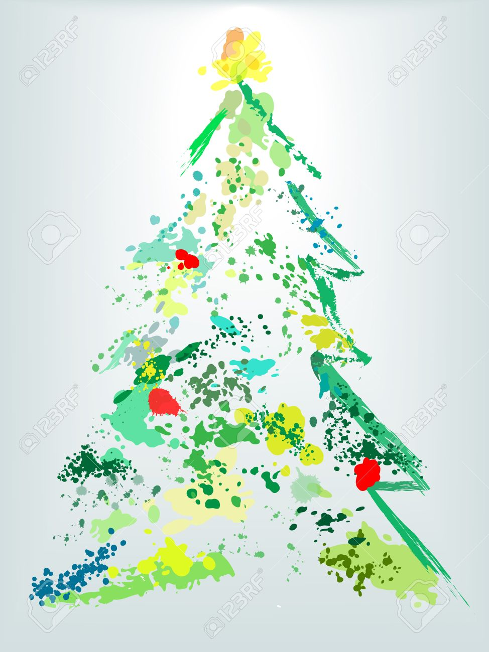 A Christmas Tree Splatter Shape Of Paint Drops As Decoration ...