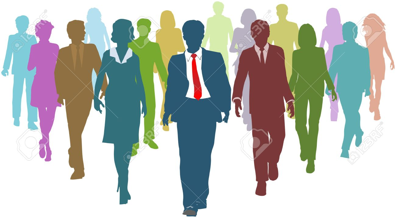 Diverse business people human resources silhouettes follow a team leader Stock Vector - 8773907