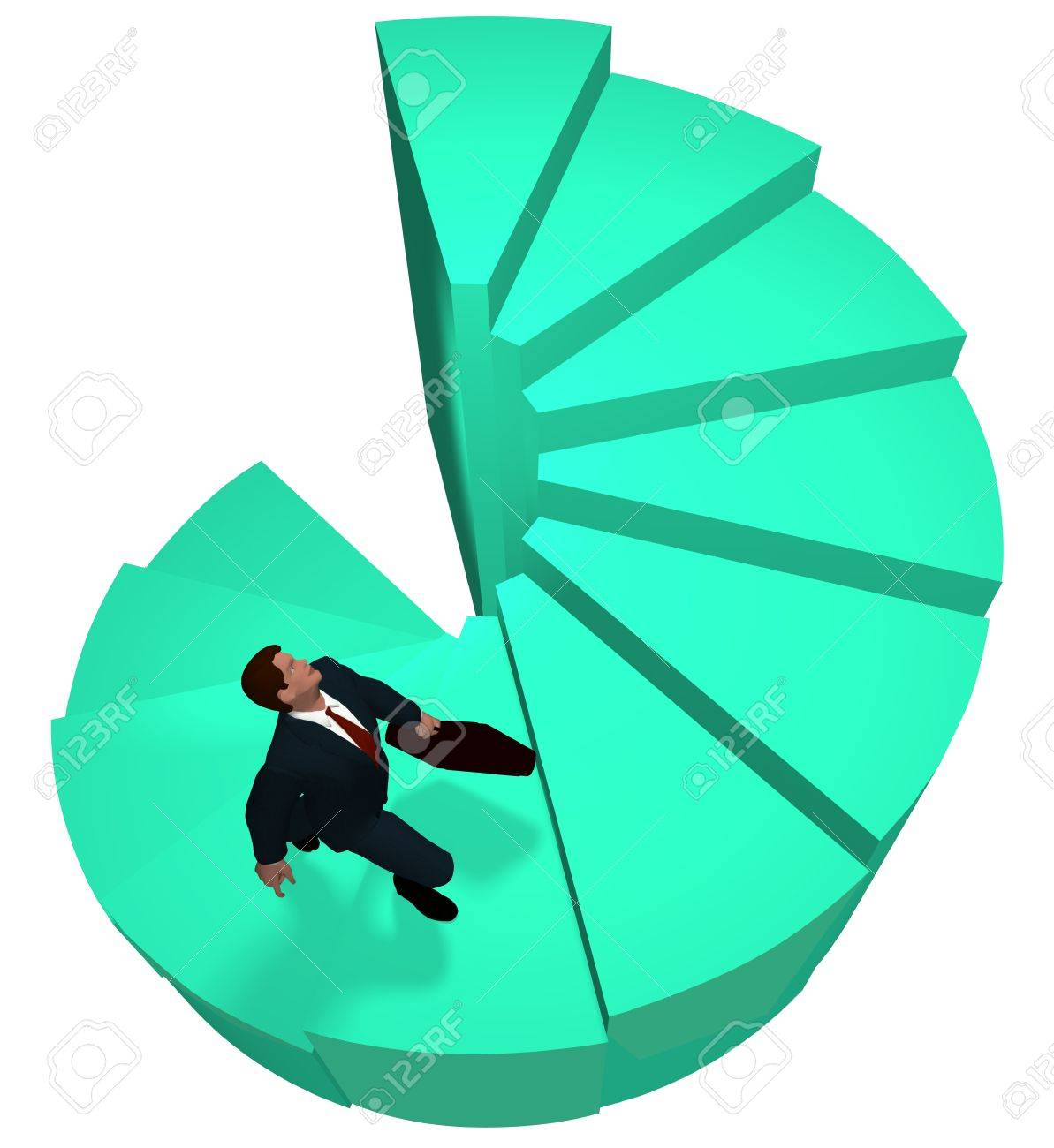 Business man climbs up to the top of 3D spiral success stairs steps Stock Photo - 8889471