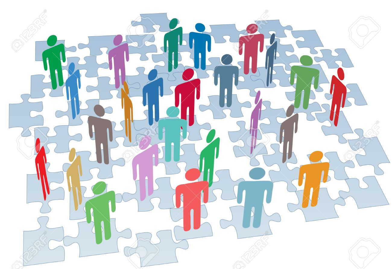 Human resources people connect on puzzle pieces company network Stock Vector - 8889512