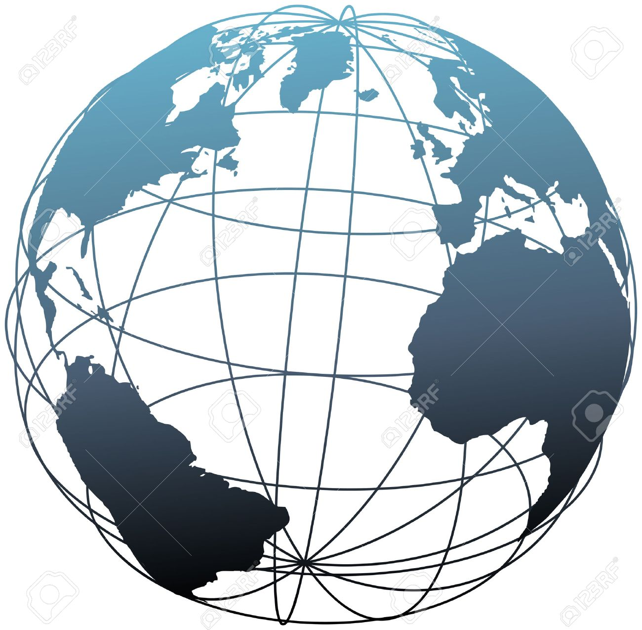 Global wireframe latitude longitude grid Atlantic Earth 3D globe Stock Vector - 8889516