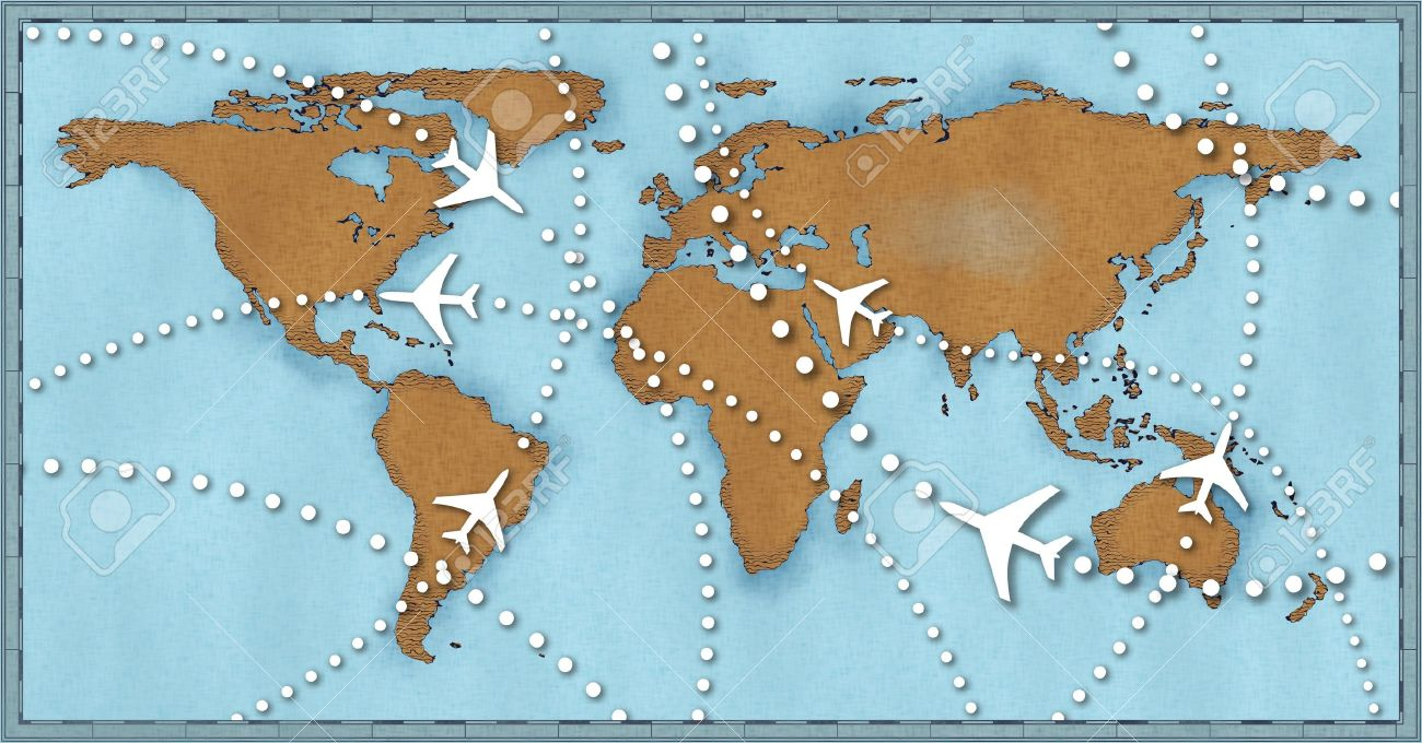 air travel flight paths dotted lines on world map as commercial airline passenger jets fly air