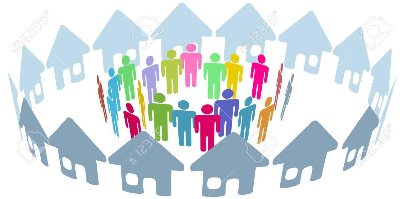 Neighborhood home people social network meet inside a circle of houses - 9117741