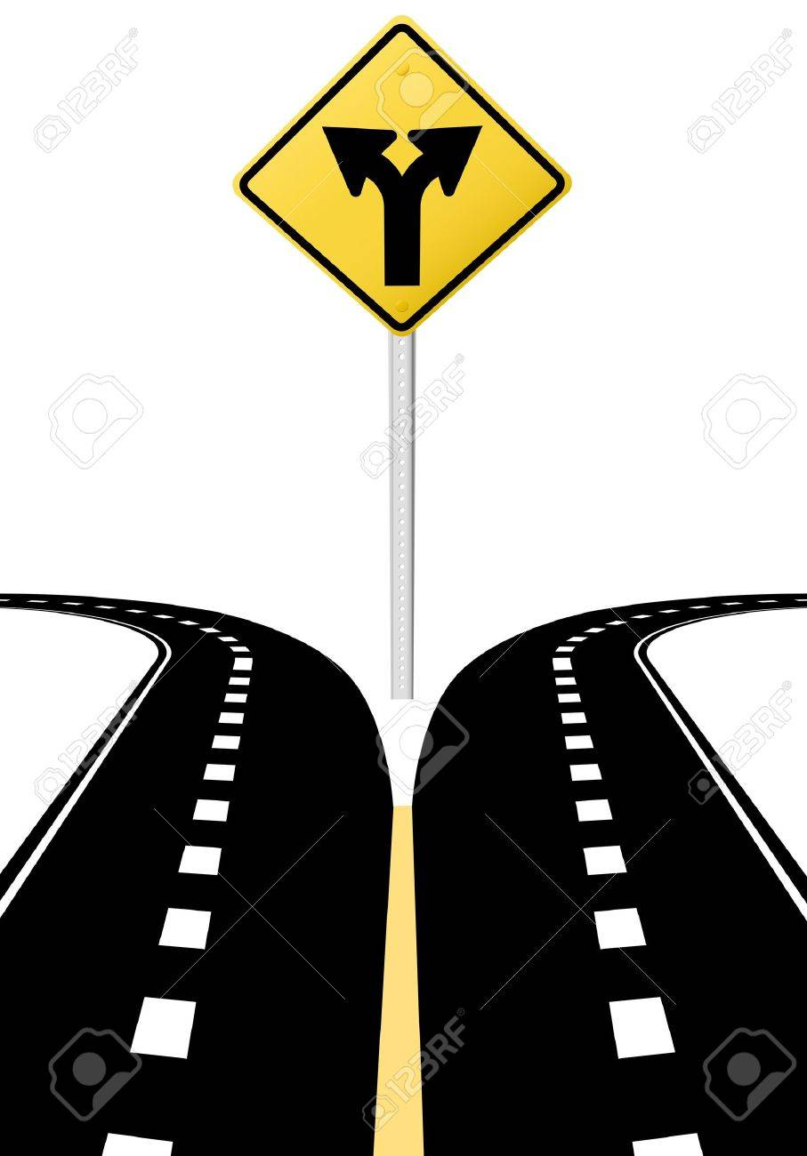 right left arrows on highway road sign symbol of split paths