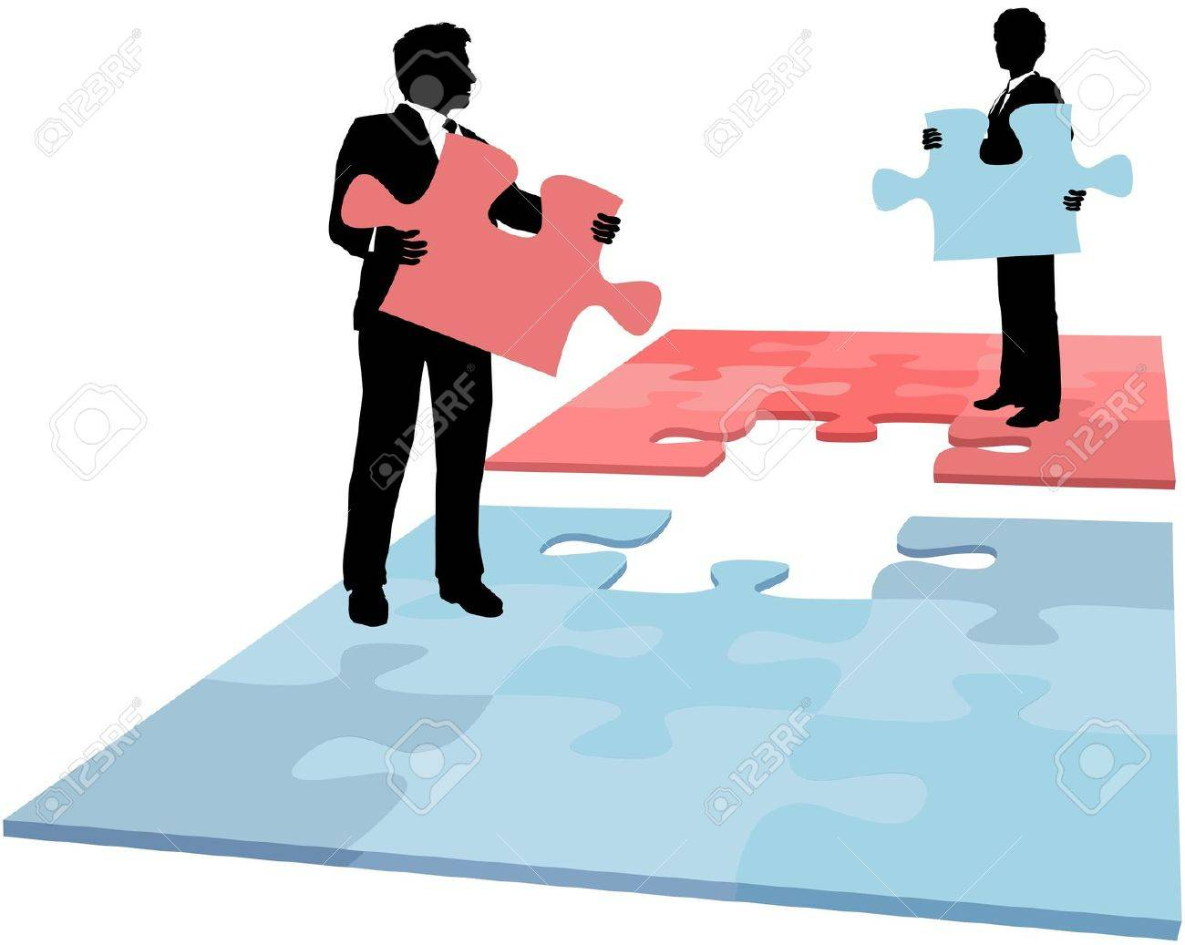 business people hold missing puzzle pieces needed for solution