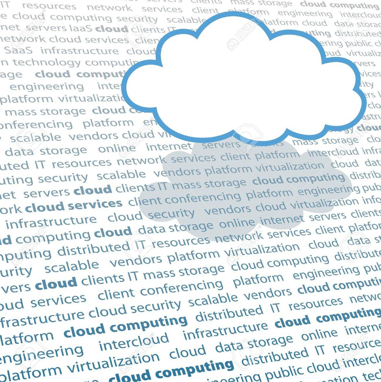 Cloud shape copy space above cloud computing IT terminology text page Stock Vector - 9379401