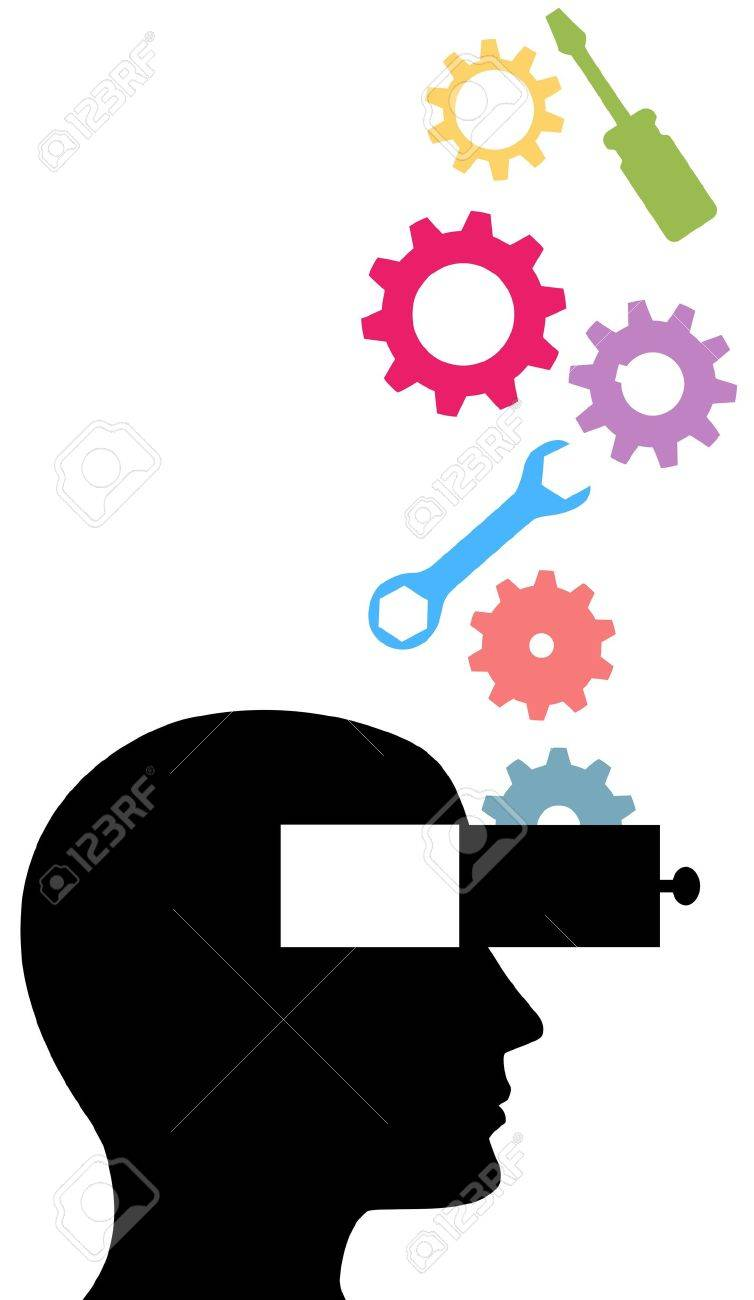 Tools and gears drop into the open mind person learning technology subjects Stock Vector - 9616782