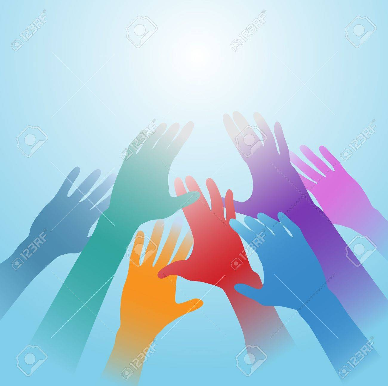 People hands of many colors reach out toward bright light copy space Stock Vector - 9616785