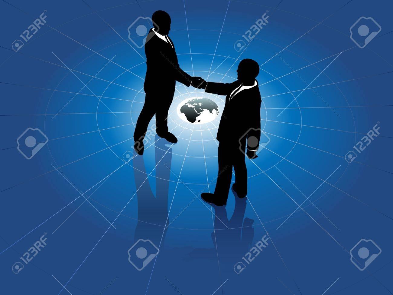 Global network business men partner in a  handshake for world agreement Stock Vector - 9712927