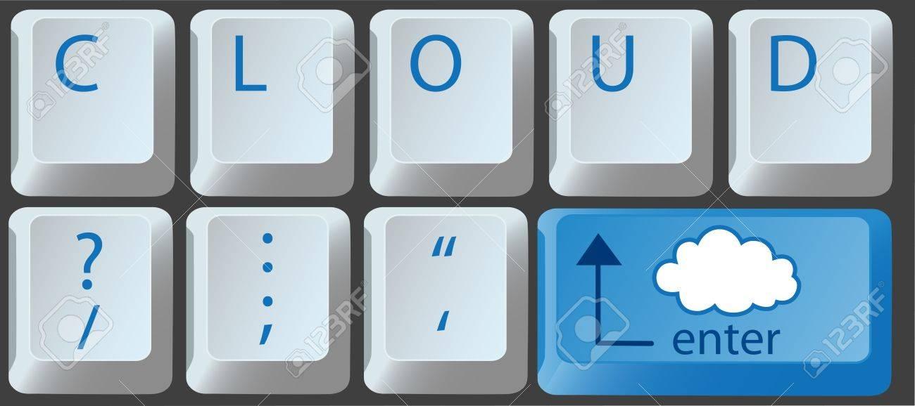 Enter the cloud with a cloud computing key on computer keyboard Stock Vector - 9712934