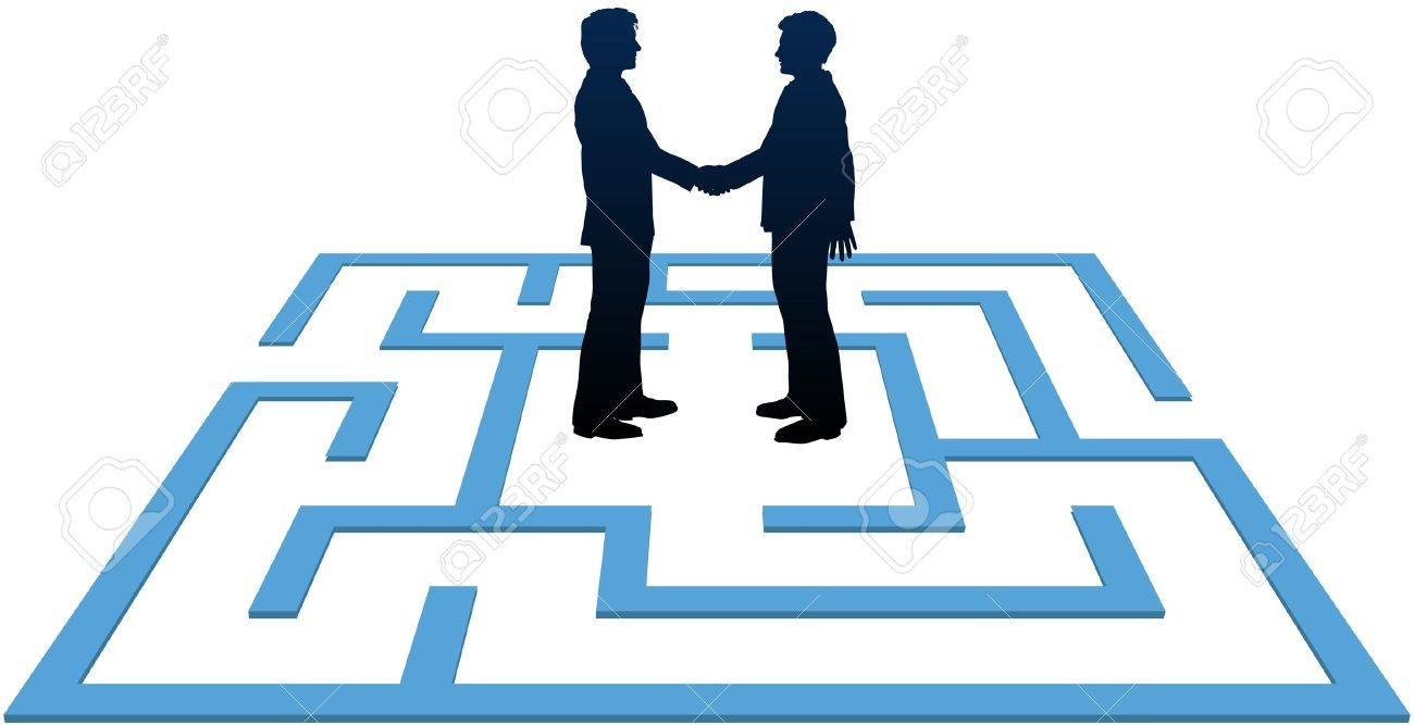 Two business people find a solution to problems and make an agreement in a maze Stock Vector - 9828366