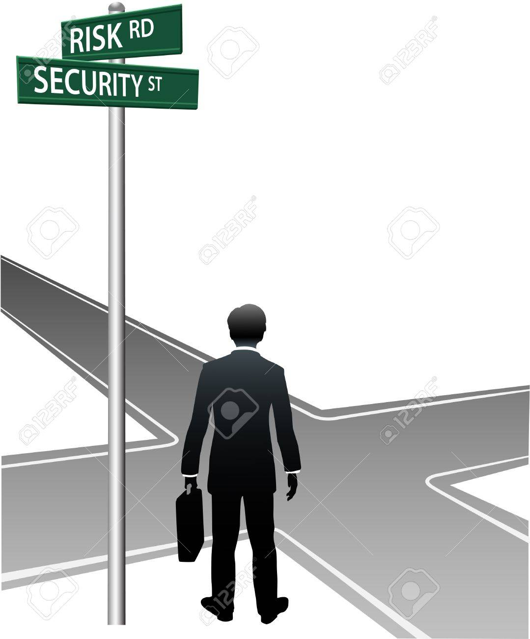 Business person choose future direction at life crossroads risk security choice Stock Vector - 9828362